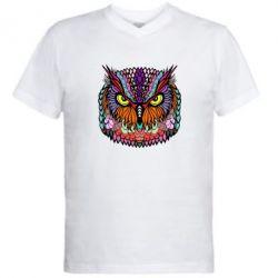 Мужская футболка  с V-образным вырезом Сова Совентьевна