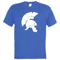 Мужская футболка  с V-образным вырезом Spartan helmet