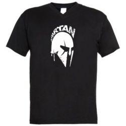 Мужская футболка  с V-образным вырезом Spartan minimalistic helmet