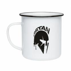 Кружка эмалированная Spartan minimalistic helmet