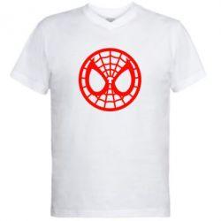 Мужская футболка  с V-образным вырезом Спайдермен лого