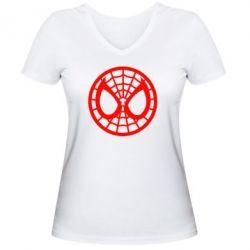Женская футболка с V-образным вырезом Спайдермен лого - FatLine