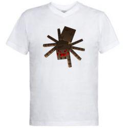 Мужская футболка  с V-образным вырезом Spider from Minecraft