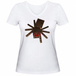 Женская футболка с V-образным вырезом Spider from Minecraft