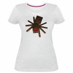 Женская стрейчевая футболка Spider from Minecraft
