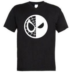 Мужская футболка  с V-образным вырезом Spider Man and Deadpool