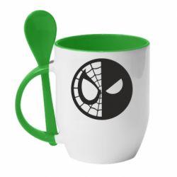 Кружка с керамической ложкой Spider Man and Deadpool