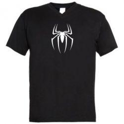 Мужская футболка  с V-образным вырезом Spider Man Logo - FatLine
