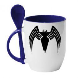 Кружка з керамічною ложкою Spider venom