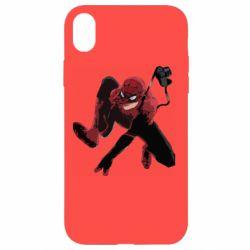 Чехол для iPhone XR Spiderman flat vector