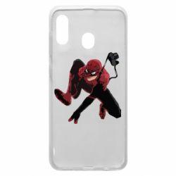 Чехол для Samsung A20 Spiderman flat vector