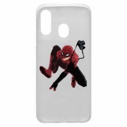 Чехол для Samsung A40 Spiderman flat vector