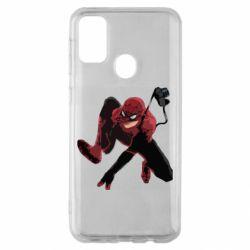 Чехол для Samsung M30s Spiderman flat vector