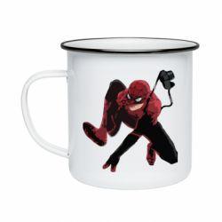 Кружка эмалированная Spiderman flat vector