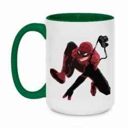 Кружка двухцветная 420ml Spiderman flat vector
