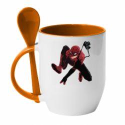 Кружка с керамической ложкой Spiderman flat vector