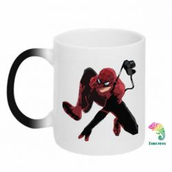 Кружка-хамелеон Spiderman flat vector