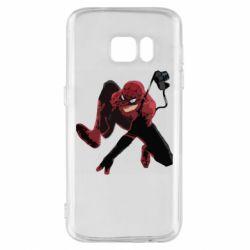 Чехол для Samsung S7 Spiderman flat vector