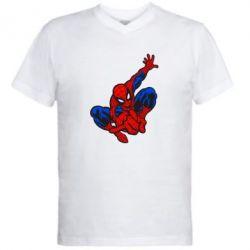 Мужская футболка  с V-образным вырезом Spiderman - FatLine