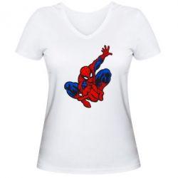 Женская футболка с V-образным вырезом Spiderman - FatLine