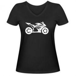 Женская футболка с V-образным вырезом Спортивный байк - FatLine