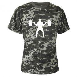Камуфляжная футболка Спортсмен со штангой - FatLine