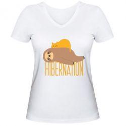 Жіноча футболка з V-подібним вирізом Спячка