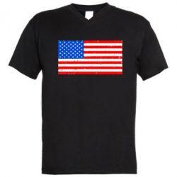 Мужская футболка  с V-образным вырезом США - FatLine