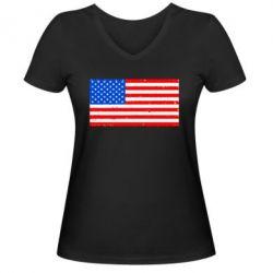 Женская футболка с V-образным вырезом США - FatLine