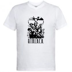 Мужская футболка  с V-образным вырезом Stalker Logo - FatLine