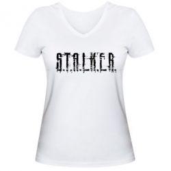 Женская футболка с V-образным вырезом Stalker Logotype