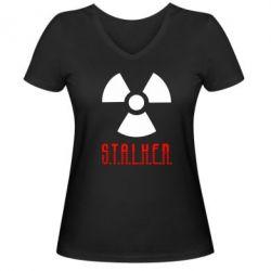 Женская футболка с V-образным вырезом Stalker