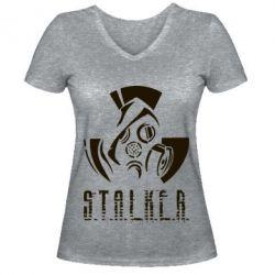 Купить Женская футболка с V-образным вырезом Сталкер, FatLine