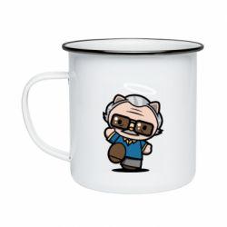 Кружка емальована Stan lee in hello kitty style
