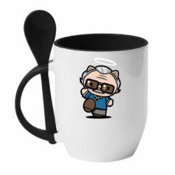 Кружка з керамічною ложкою Stan lee in hello kitty style