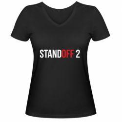 Женская футболка с V-образным вырезом Standoff 2 logo