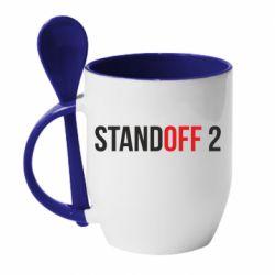 Кружка с керамической ложкой Standoff 2 logo