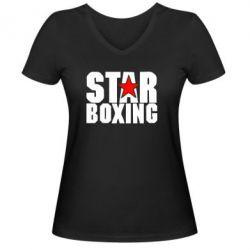 Женская футболка с V-образным вырезом Star Boxing - FatLine