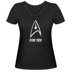 Женская футболка с V-образным вырезом Star Trek - FatLine