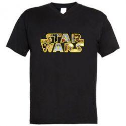 Мужская футболка  с V-образным вырезом Star Wars 3D - FatLine