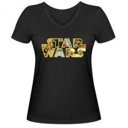 Женская футболка с V-образным вырезом Star Wars 3D - FatLine