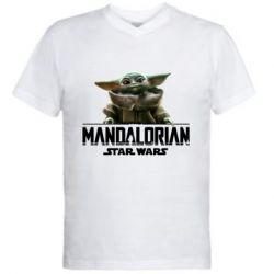 Мужская футболка  с V-образным вырезом Star Wars Yoda beby