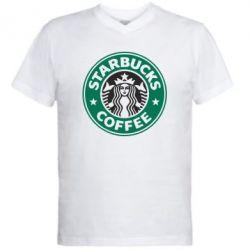 Мужская футболка  с V-образным вырезом Starbucks Logo