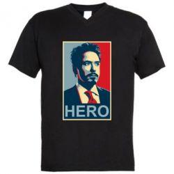 Мужская футболка  с V-образным вырезом Stark Hero