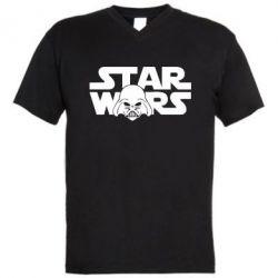 Мужская футболка  с V-образным вырезом StarWars Logo - FatLine