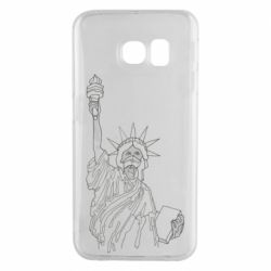 Чохол для Samsung S6 EDGE Statue of Liberty with a medical mask