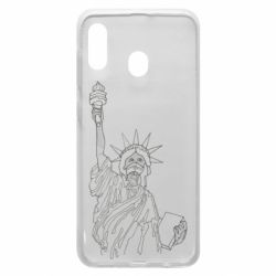 Чохол для Samsung A30 Statue of Liberty with a medical mask