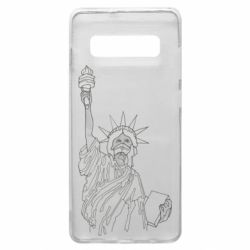 Чехол для Samsung S10+ Statue of Liberty with a medical mask