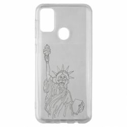 Чохол для Samsung M30s Statue of Liberty with a medical mask