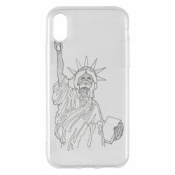 Чохол для iPhone X/Xs Statue of Liberty with a medical mask